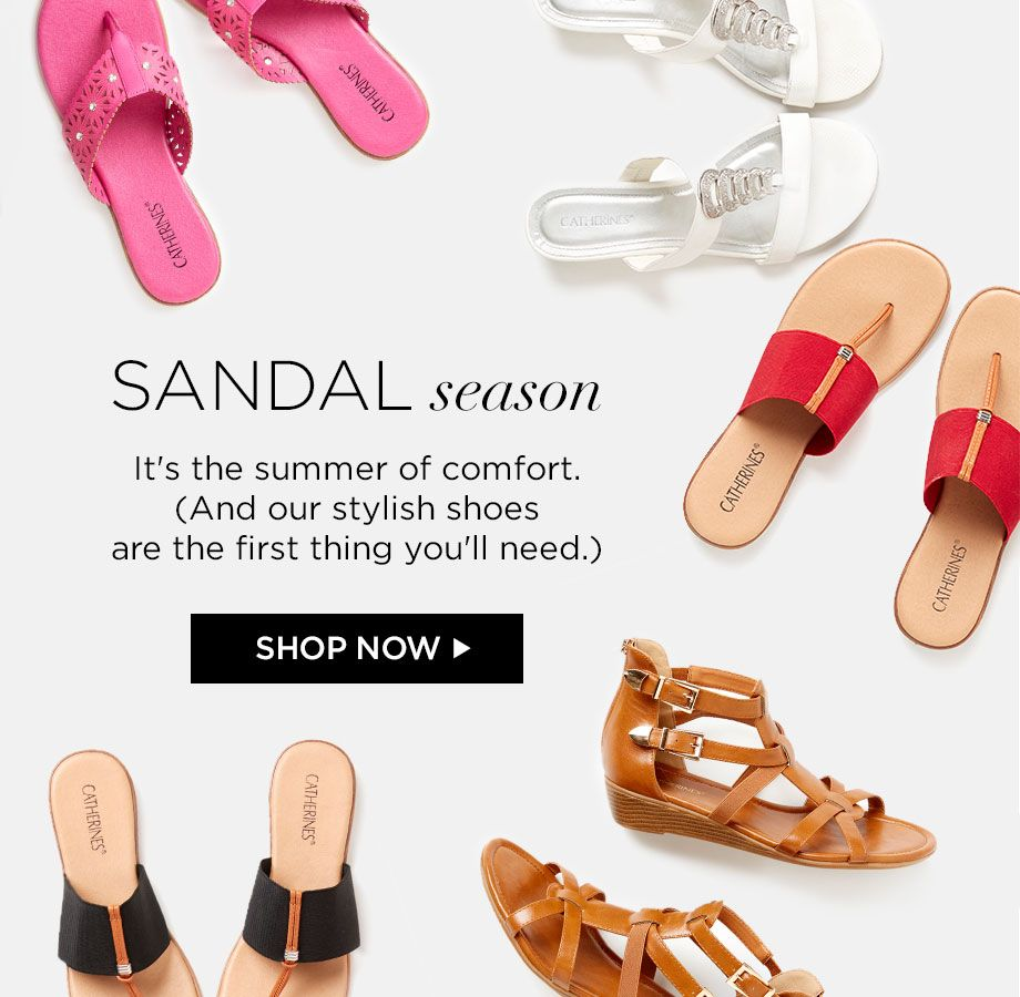 Shop Sandals at Catherines Plus Sizes