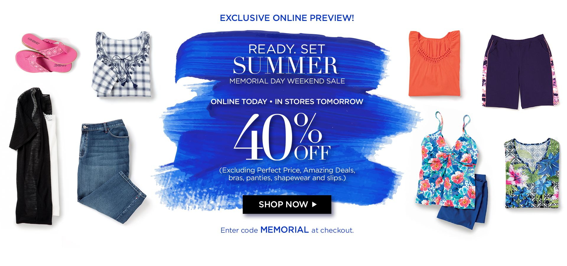 Shop 40% off at Catherines Plus Sizes online today only, in stores tomorrow