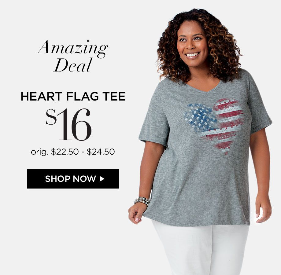 Shop Heart Flag Tee at Catherines Plus Sizes