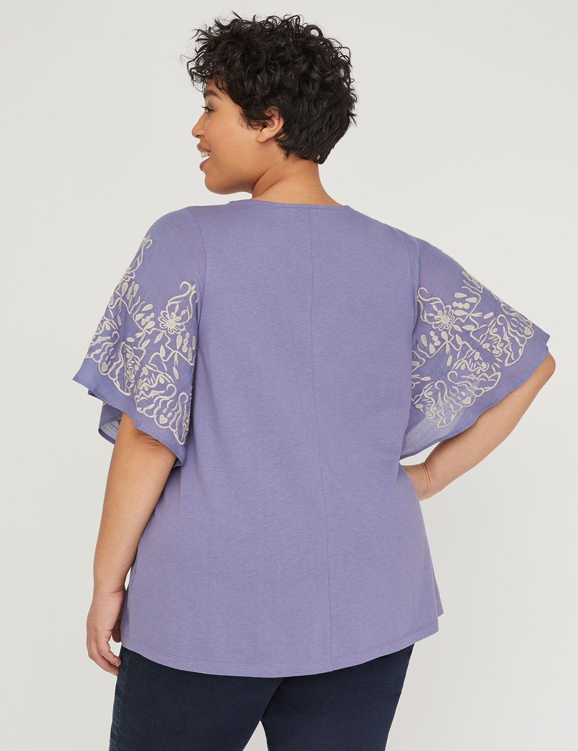 a4aee0cb9 Embroidered Flutter-Sleeve Top