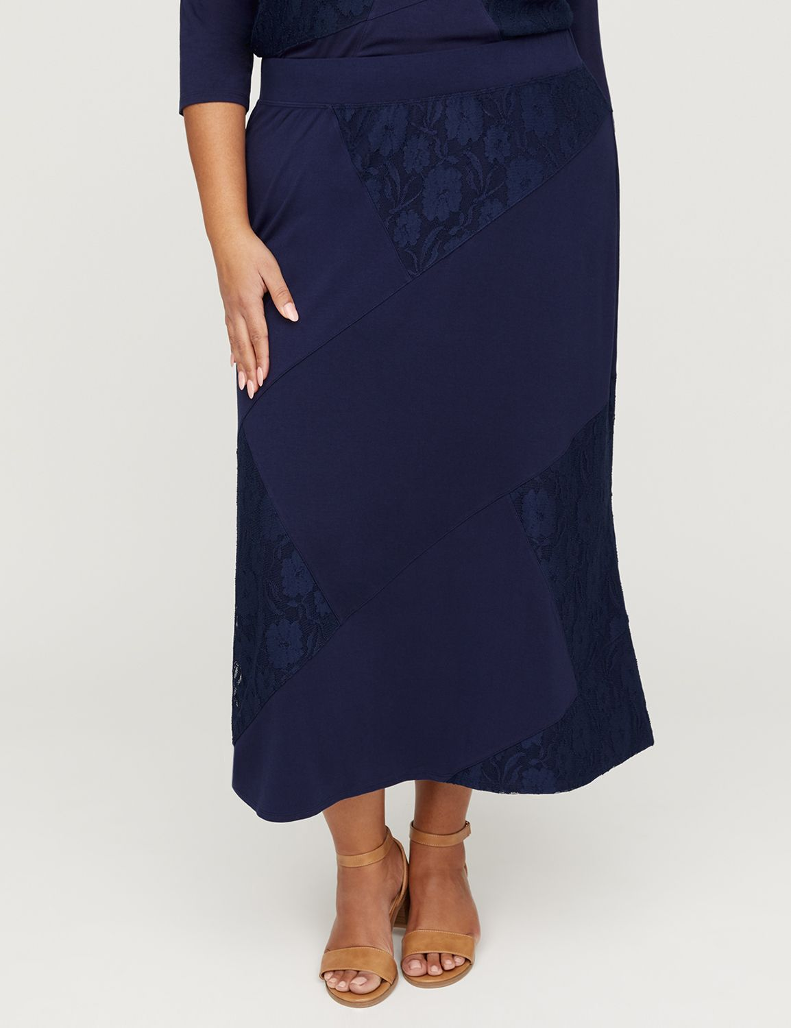 819b13252cd AnyWear Navy Lace Patchwork Maxi Skirt