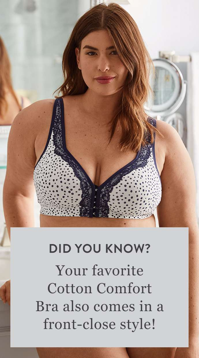 Your favorite cotton comfort bra also comes in a front-close style.