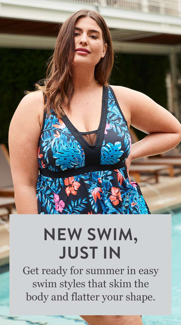 Get ready for summer in easy swim styles that skim the body and flatter your shape.