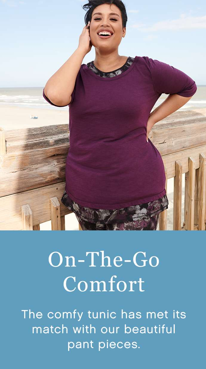 On-the-go comfort: The comfy tunic has met its match withour beautiful pant pieces.
