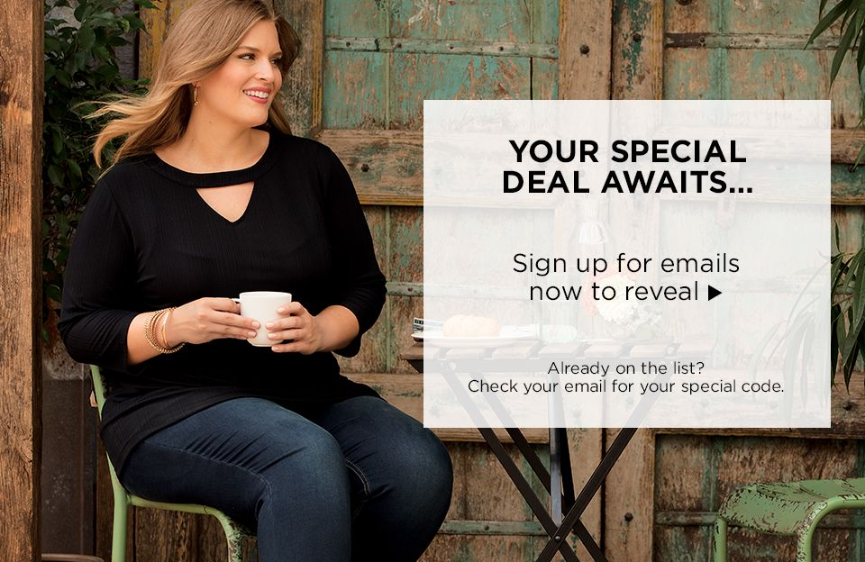 Sign Up for Emails at Catherines Plus Sizes