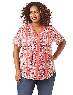Crossings Lace-Up Top