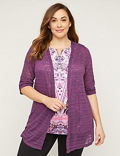 Shadow Stripe Cardigan With 3/4 Sleeves