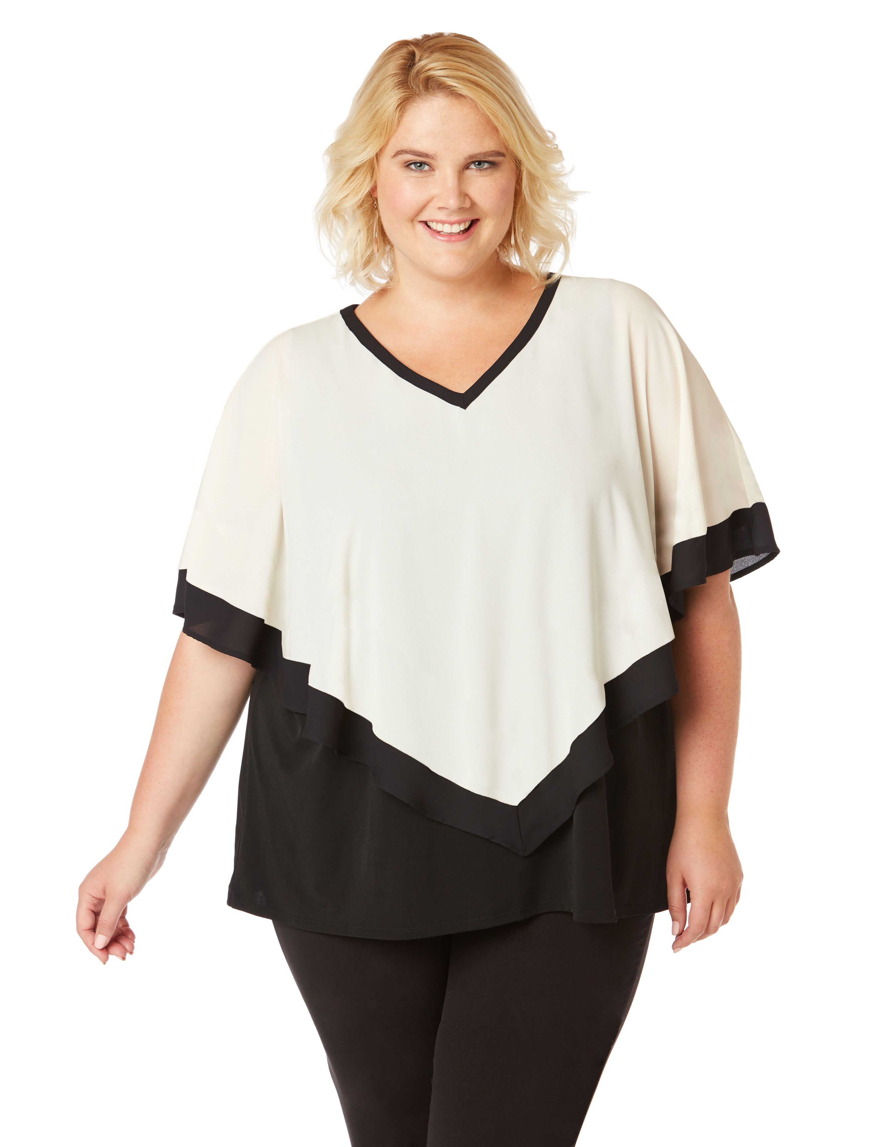Tribeca Overlay Top 2 Fer Gtte/ITY Colorblocked Knit To MP-300076629