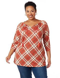 Plaid Peasant Top
