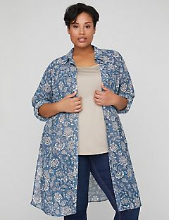 Floral Illusion Georgette Duster