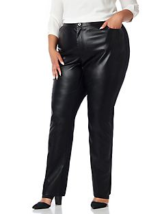 Black Label Vegan Leather & Ponte Pant