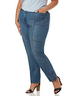 Seamed Side-Zip Ankle Jean