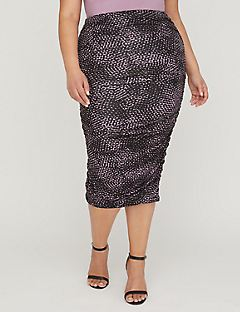 Curvy Collection Ruched Midi Skirt in Print