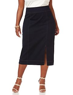 Curvy Collection Sateen Denim Skirt