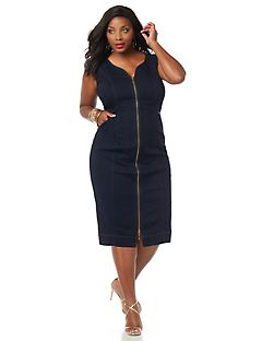 Curvy Collection Sateen Denim Dress