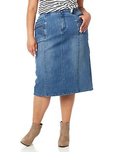 Seamed Denim Skirt