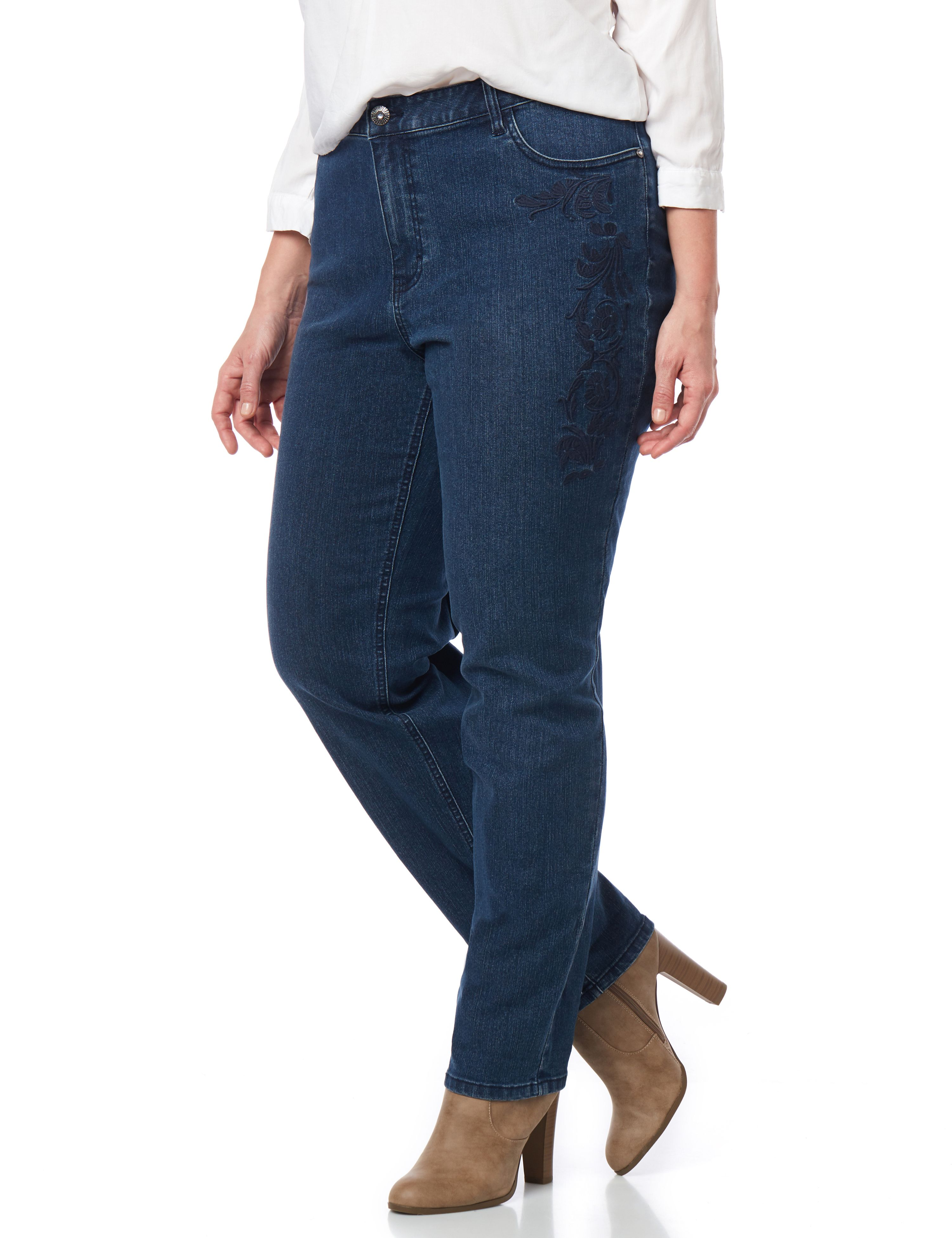 Tonal Embroidered Denim Jean 1084754 Embroidered Tonal Denim Str MP-300084005