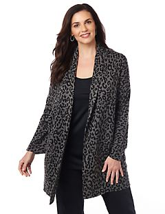 Animal Print Drape Cardigan