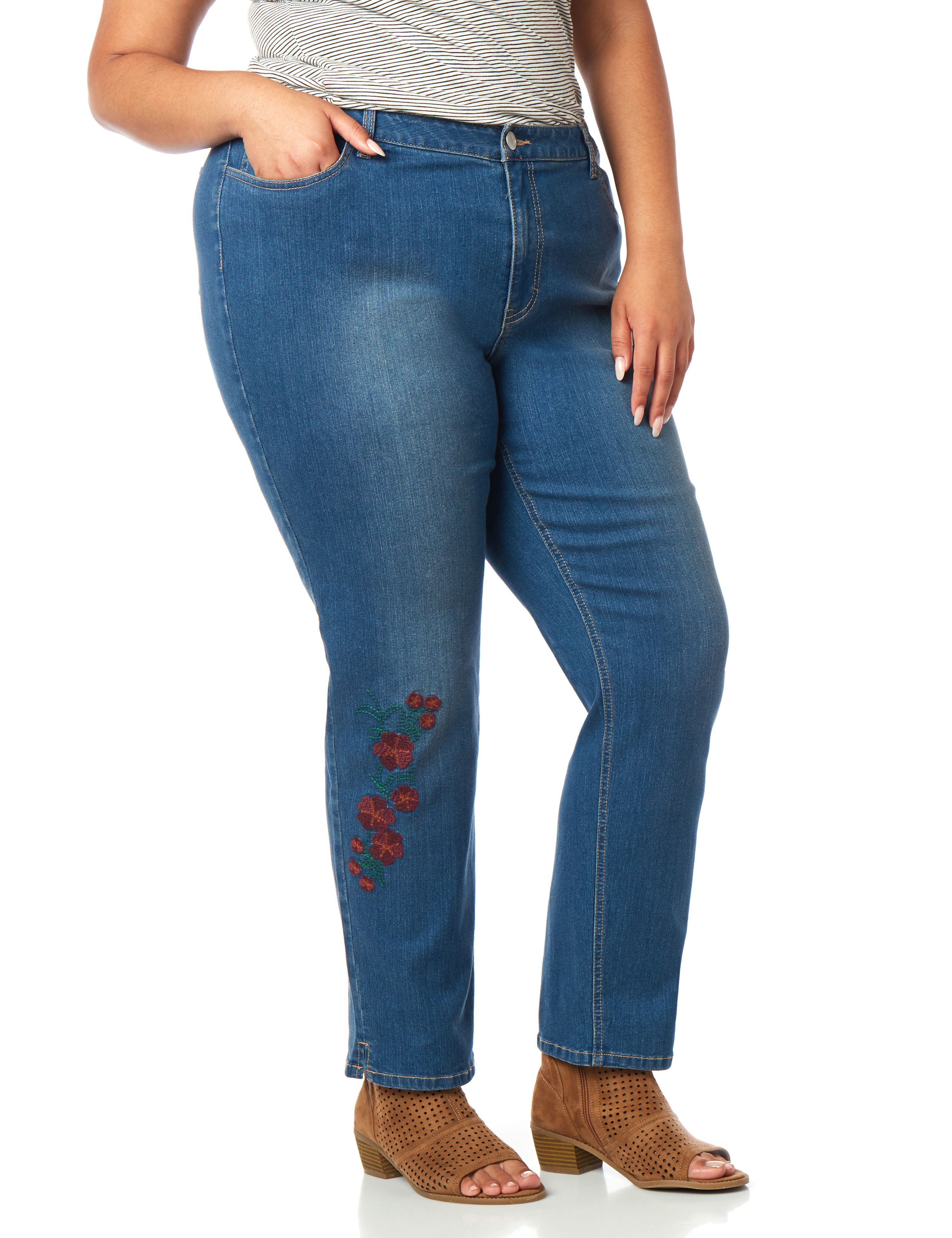 Floral Ankle Jean 1084764 Floral Embroidered Denim An MP-300084027