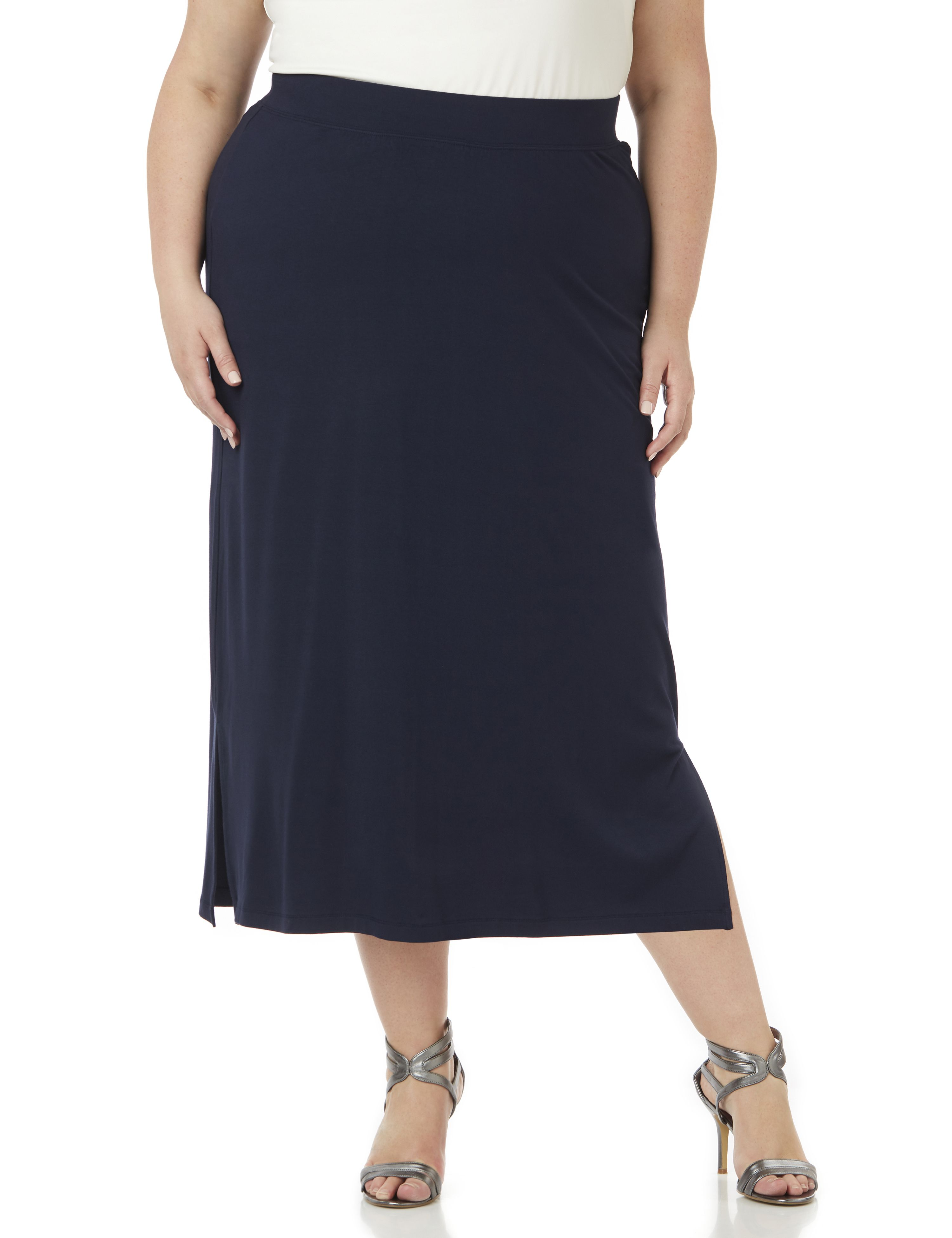1950s Skirts; Pinup, Poodle, Pencil, Swing & Circle Skirts AnyWear Midi Skirt $46.99 AT vintagedancer.com