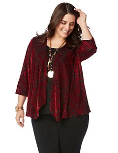 AnyWear Velvet Tile Cardigan