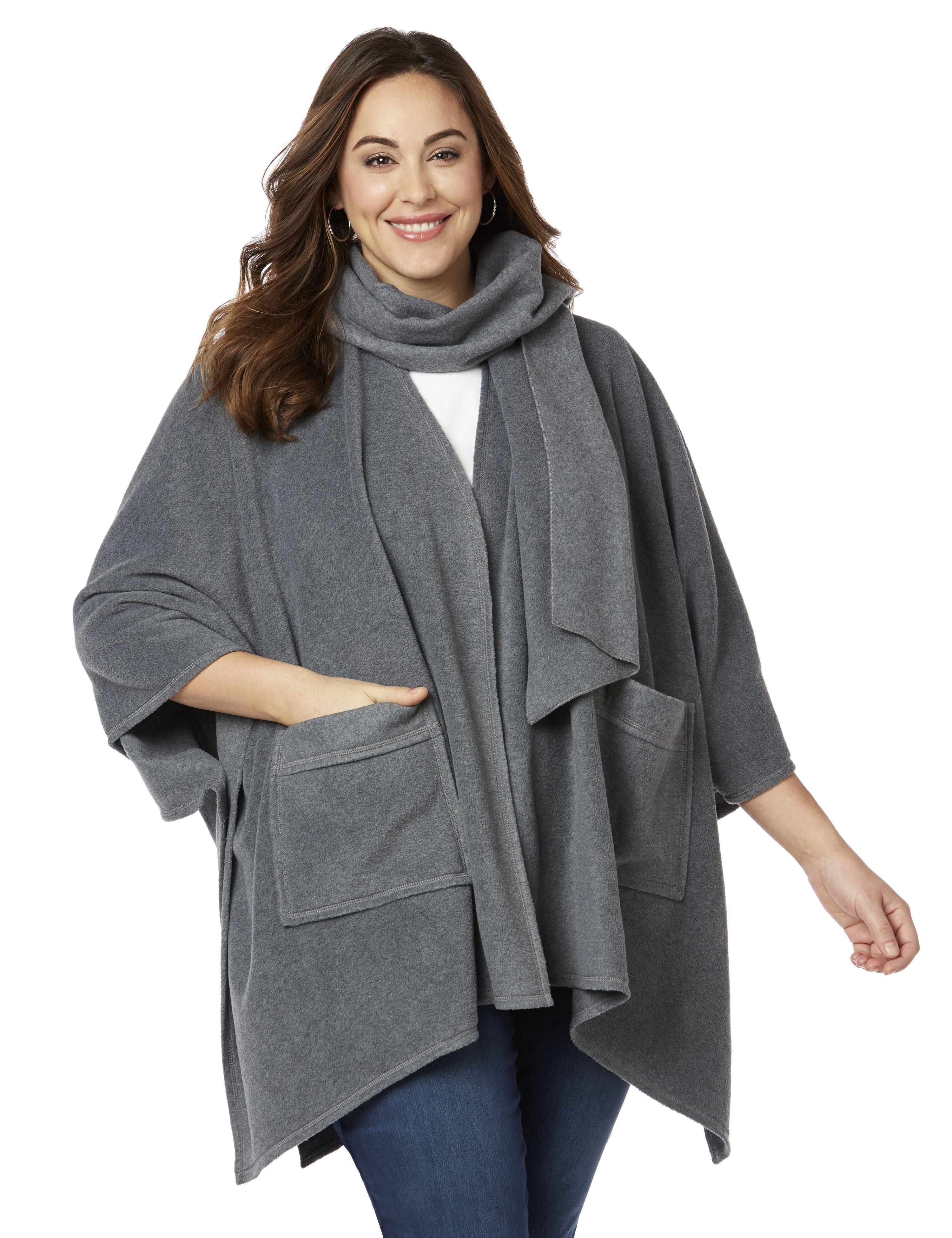 Fleece Poncho and Scarf Set 1083627 FLEECE PONCHO WITH REMOVABL MP-300086517