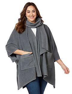 Fleece Poncho and Scarf Set