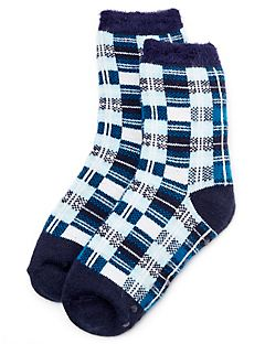 Blue Plaid Double-Layer Slipper Socks