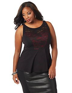 Curvy Collection Lace-Mix Tank