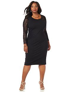 Curvy Collection Lace-Mix Dress
