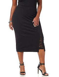Curvy Collection Lace-Mix Skirt