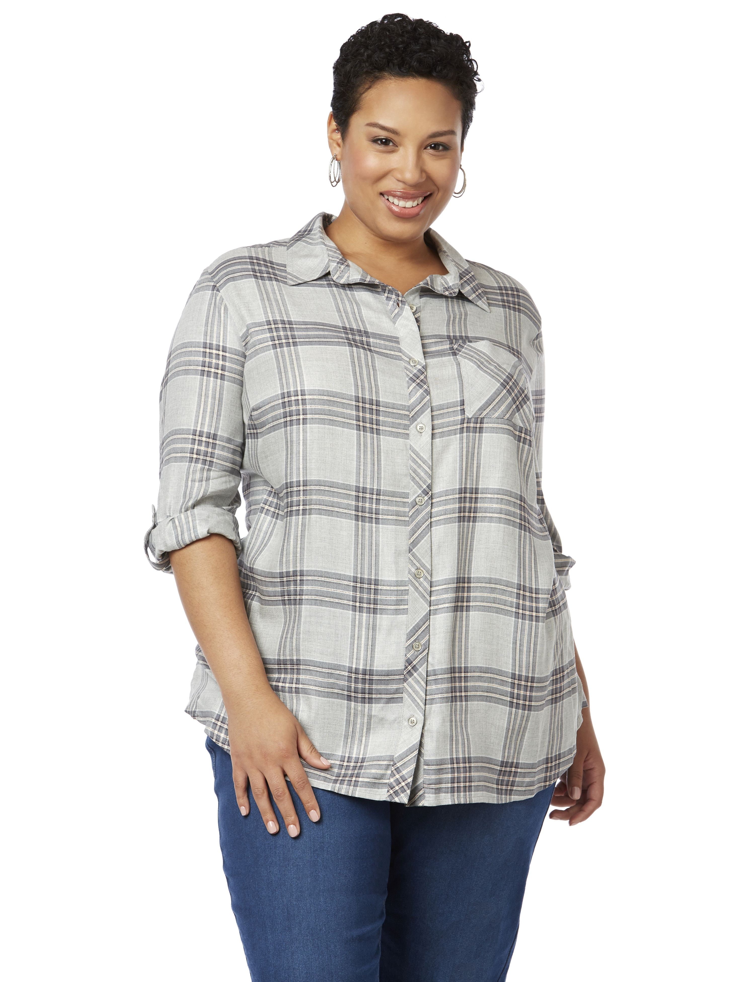 DeVille Plaid Buttonfront...