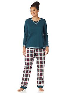 Peaceful Night Plaid Pajama Set