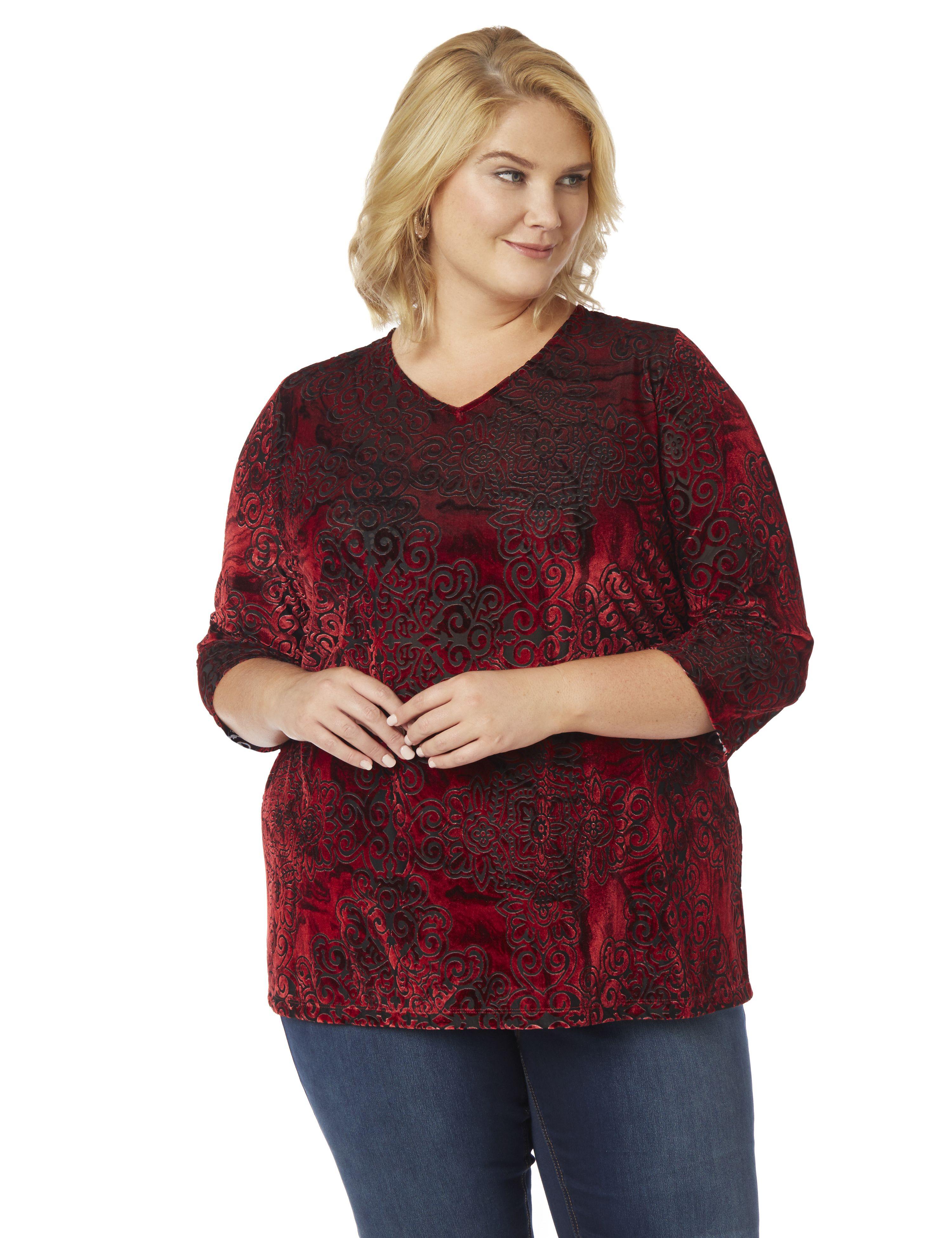 Velvet Paisley Top 1084911 3QS VNeck Burnout Velvet A/ MP-300090338