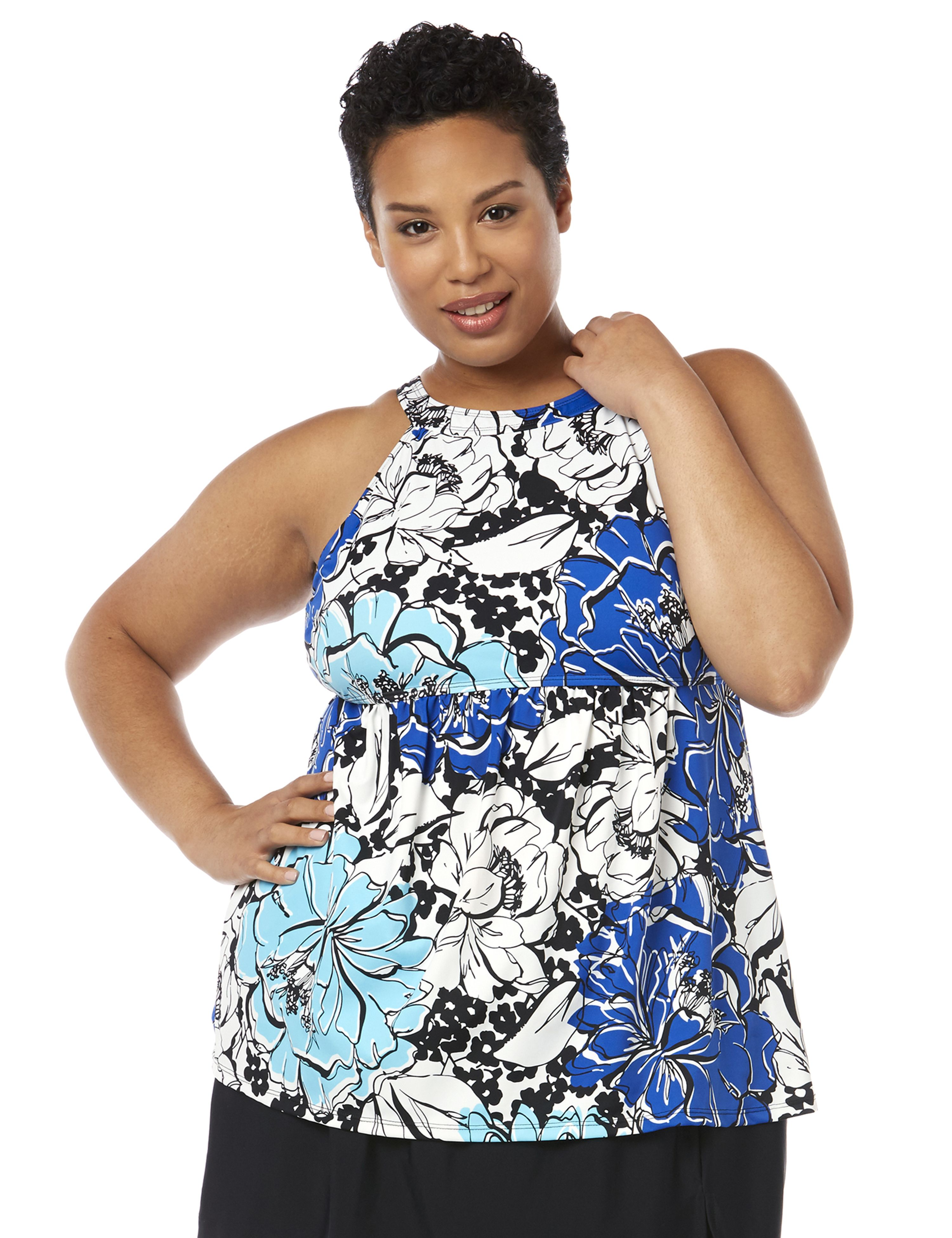 Graphic Floral Tankini Top 1086719 FIT4U HI NECK TANKINI TOP W MP-300090562