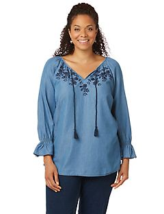 Blake Embroidered Peasant Top