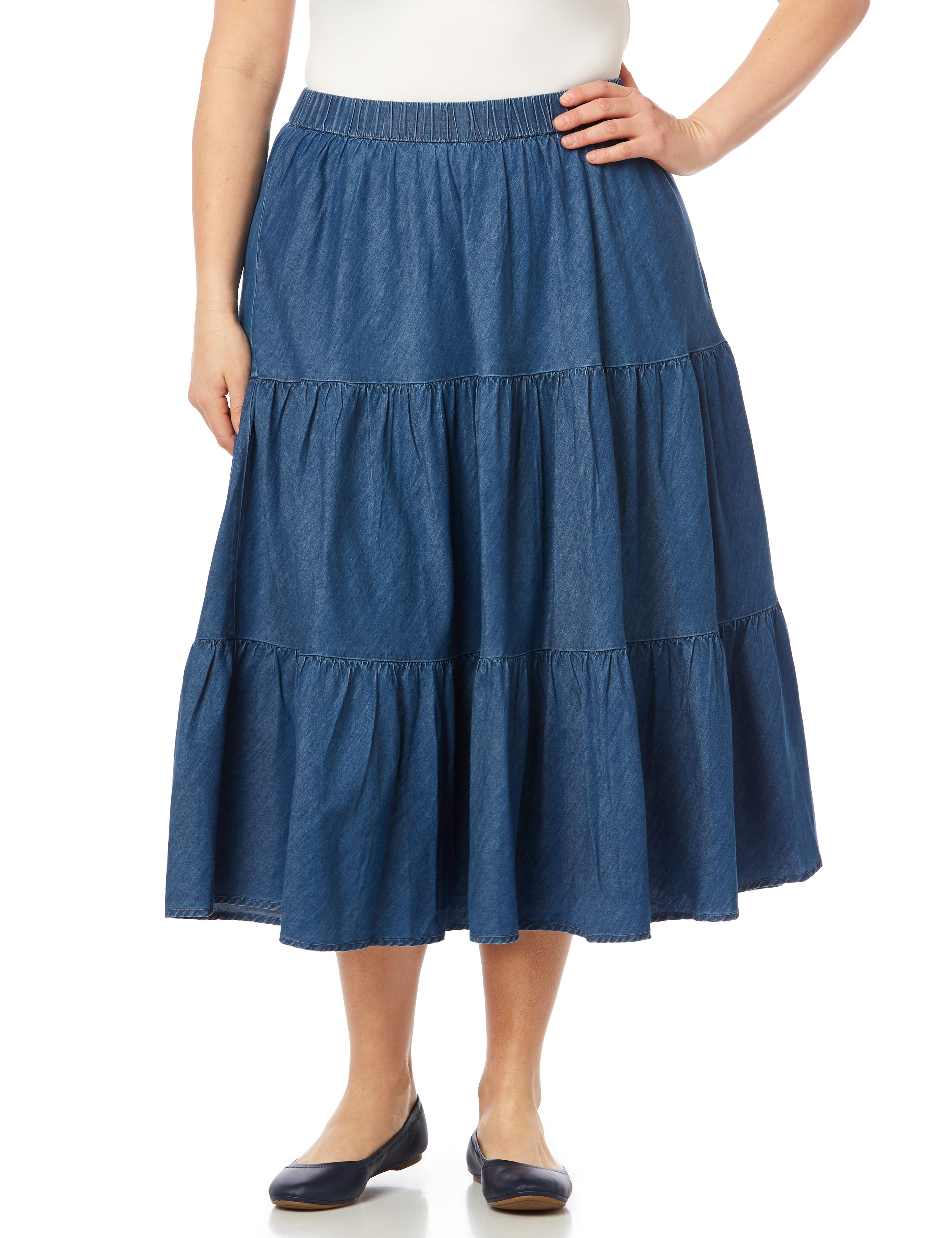 Tiered Flounce Skirt 1088712 TENCEL TRIPLE TIER SKIRT MP-300092774