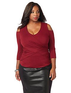 Curvy Collection Drape-Front Top