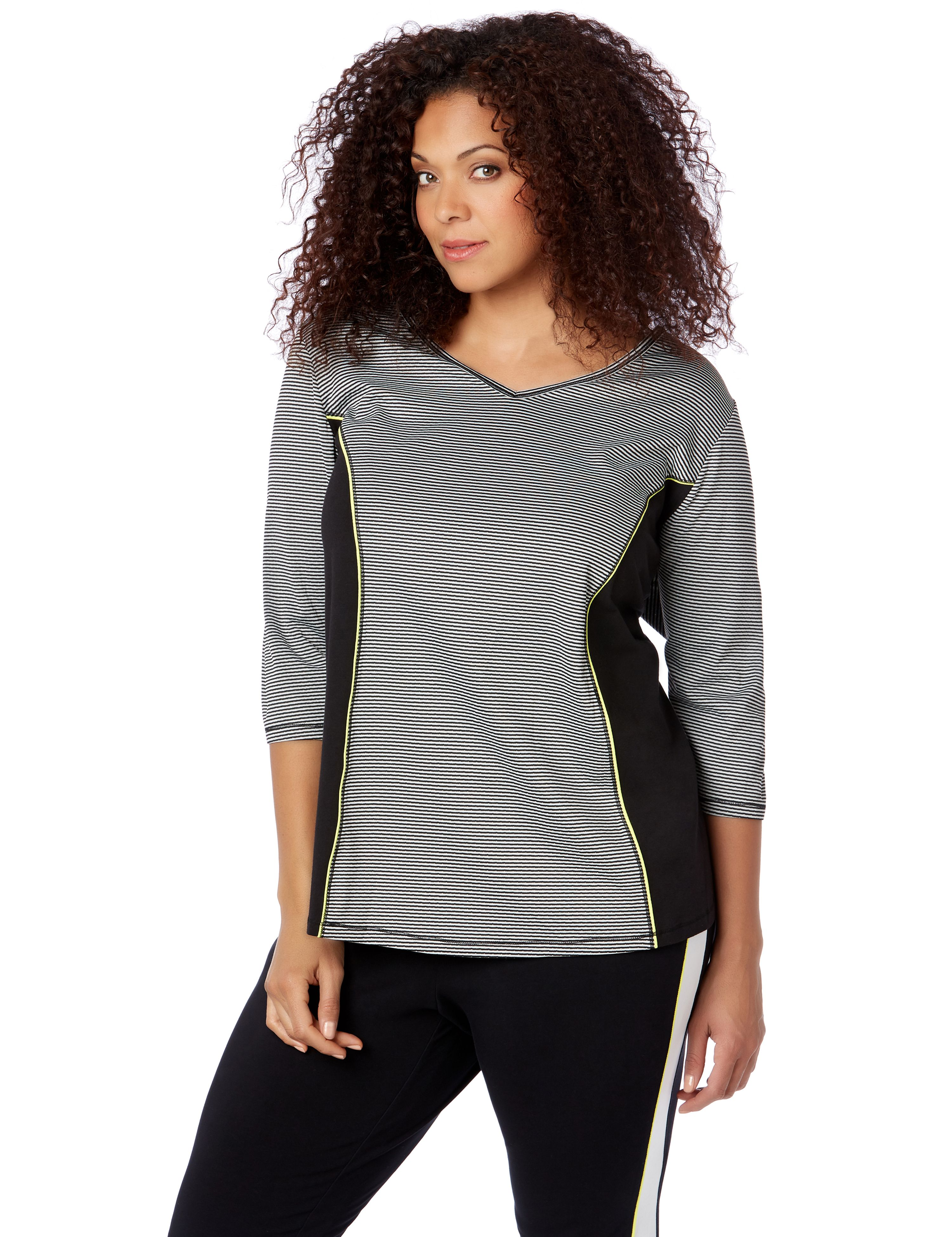 Slim Stripe Active Top 1086770 Shine your light cold shoul MP-300092360
