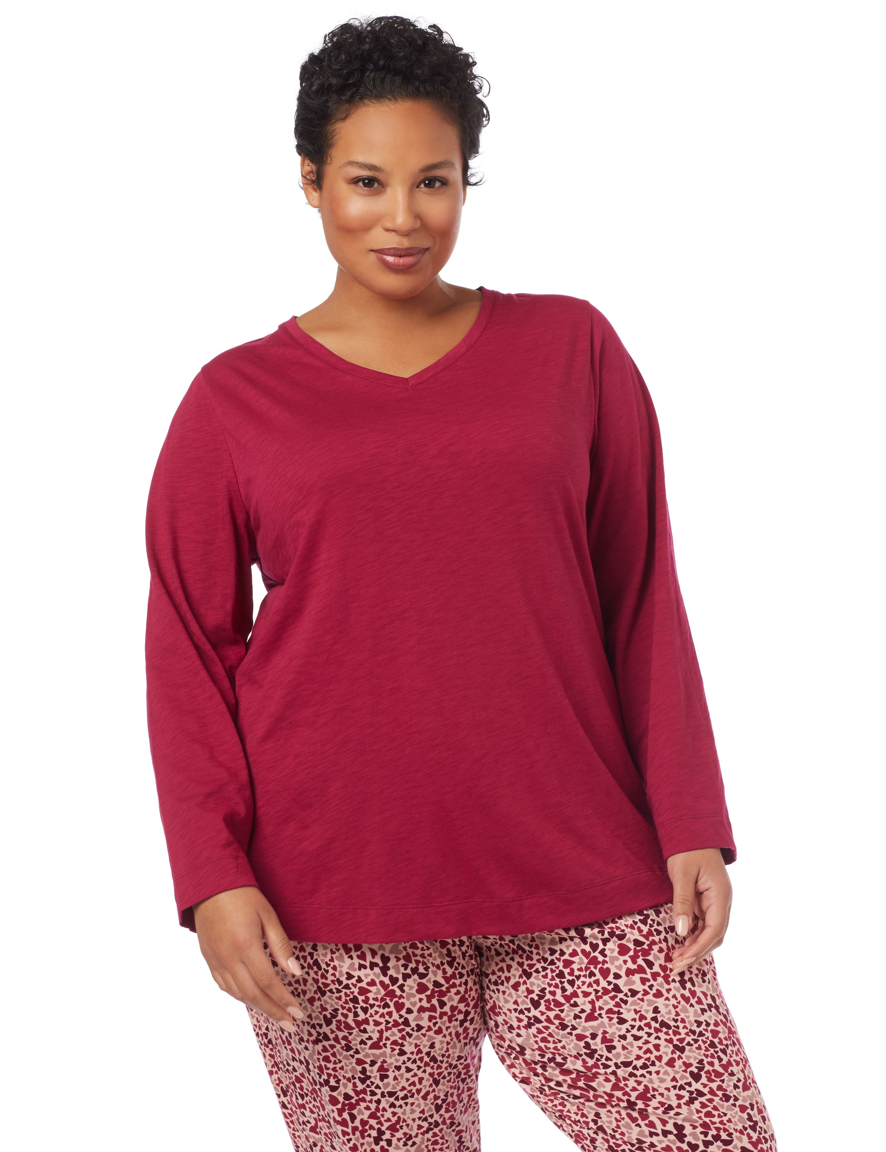 Valentine's Day Drape-Back Sleep Top 1087069 Slub Draped Back Pullover T MP-300092031