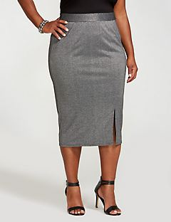 Curvy Collection Metallic Midi Skirt