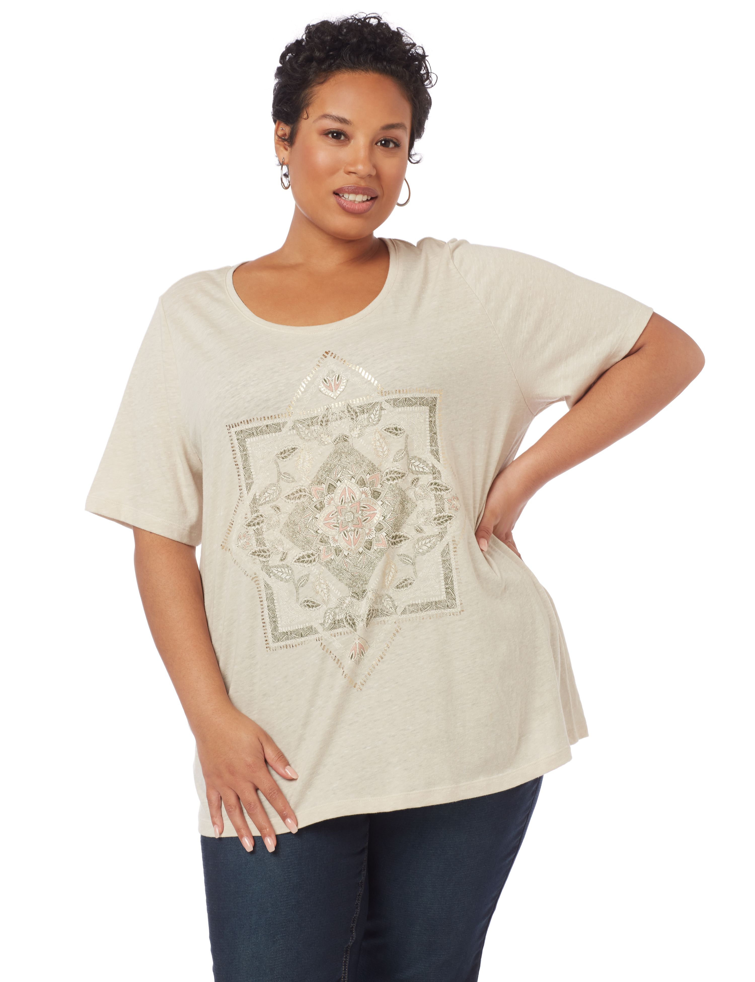 Stay Centered Short-Sleeve Top 1087879 SS SQUARE/TRIANGLE SCREEN MP-300094607