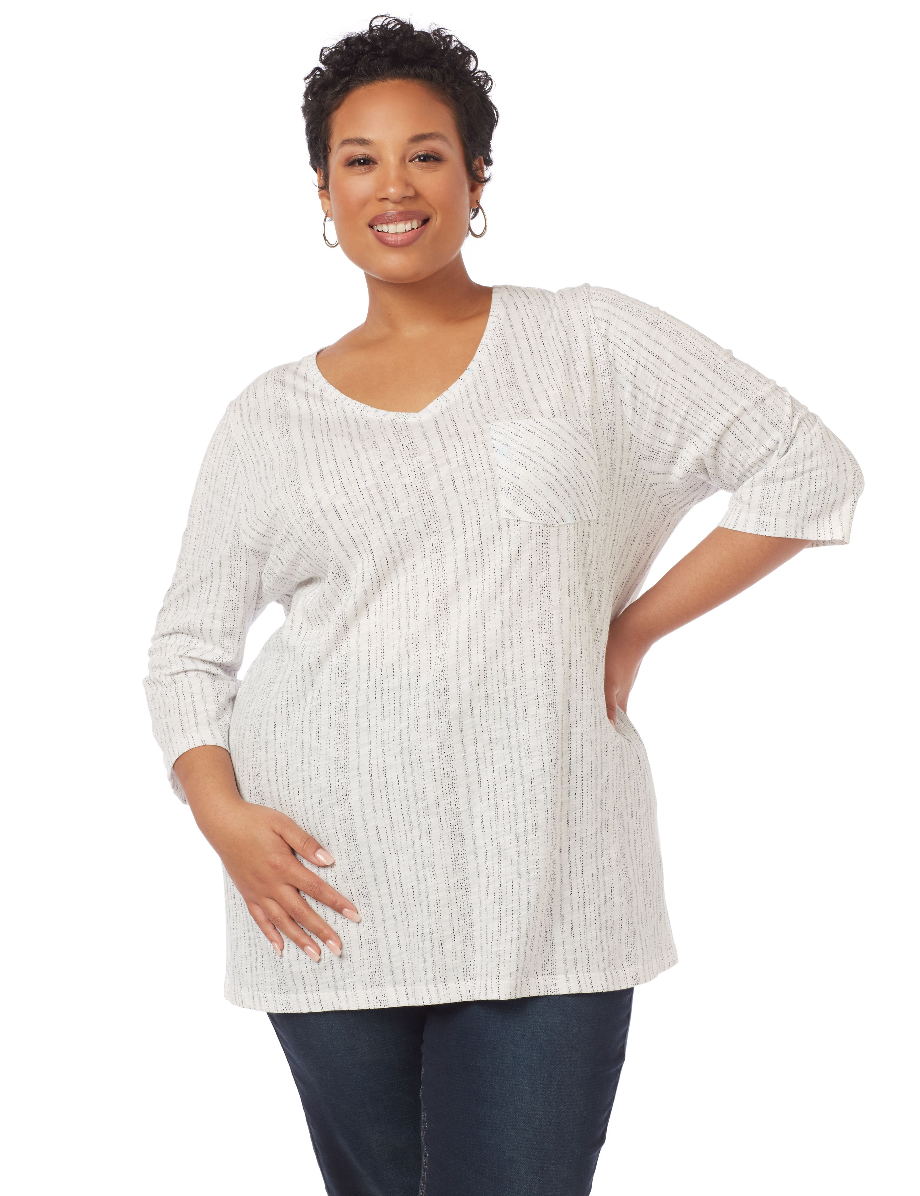 Evia Textured 3/4-Sleeve Top with Pocket 1091098 STIPLE STRIPE VNK MP-300094728