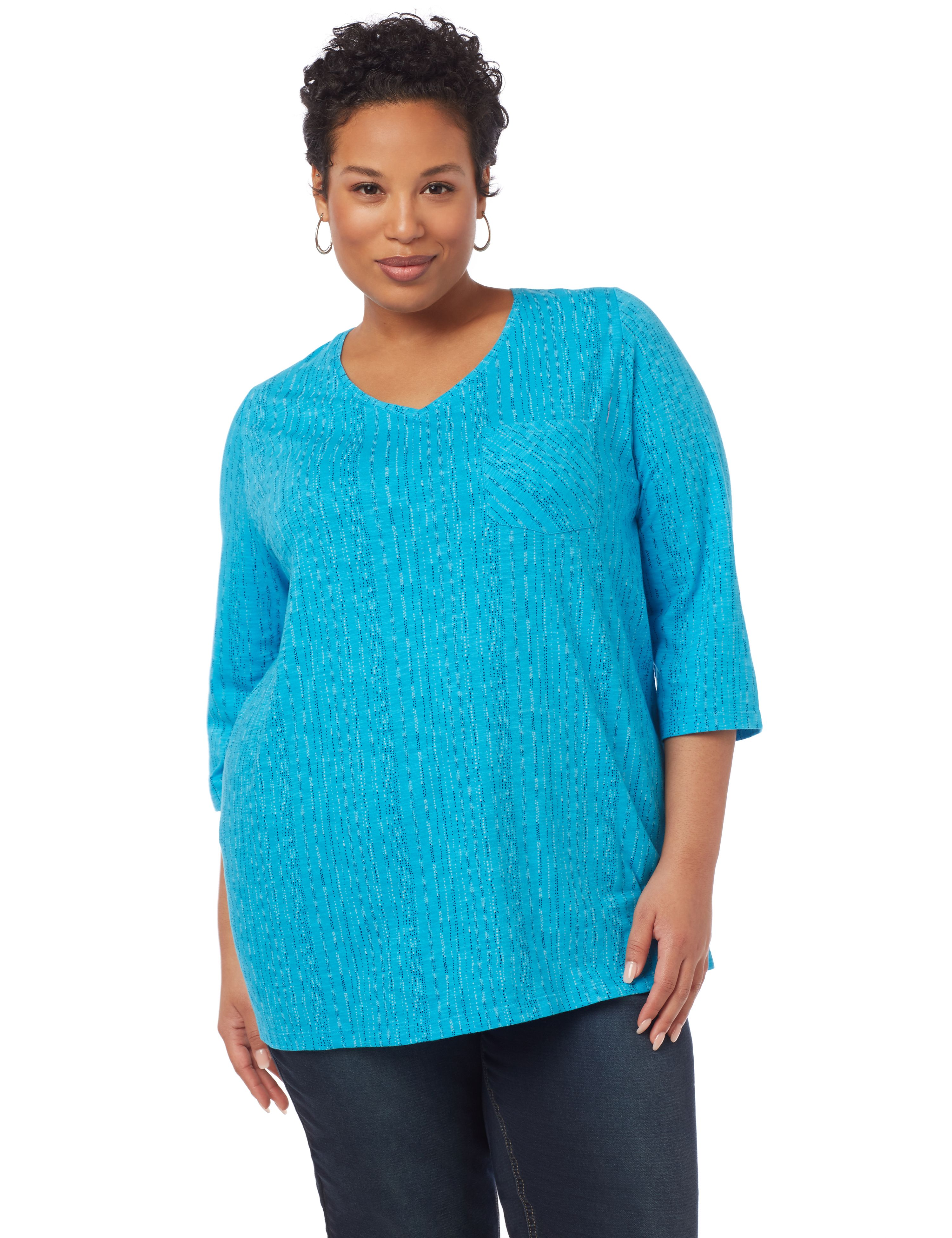 Evia Textured 3/4-Sleeve Top with Pocket 1091098 STIPLE STRIPE VNK MP-300094655