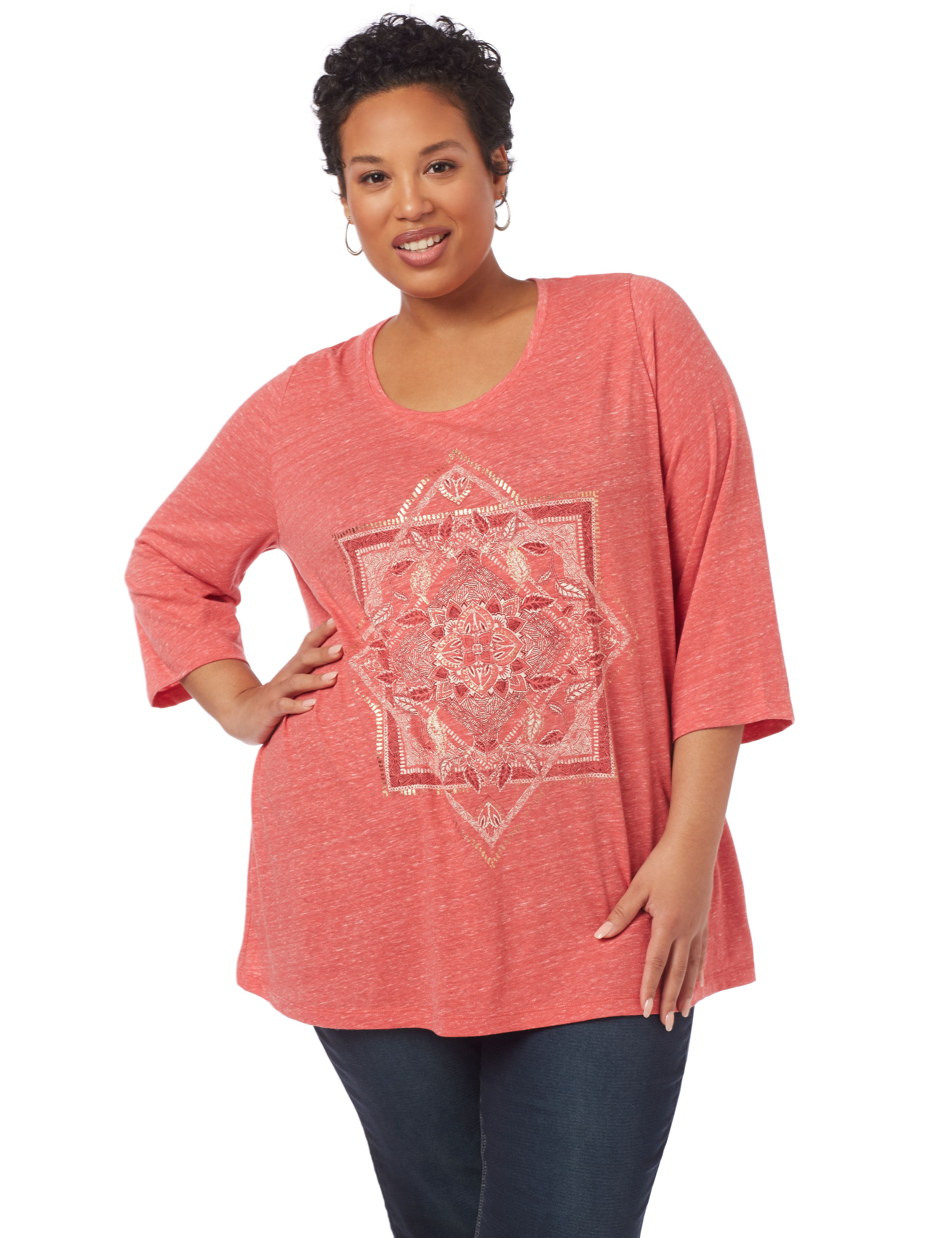 Stay Centered 3/4-Sleeve Top 1091104 SQUARE/TRIANGLE SCREEN MP-300094759