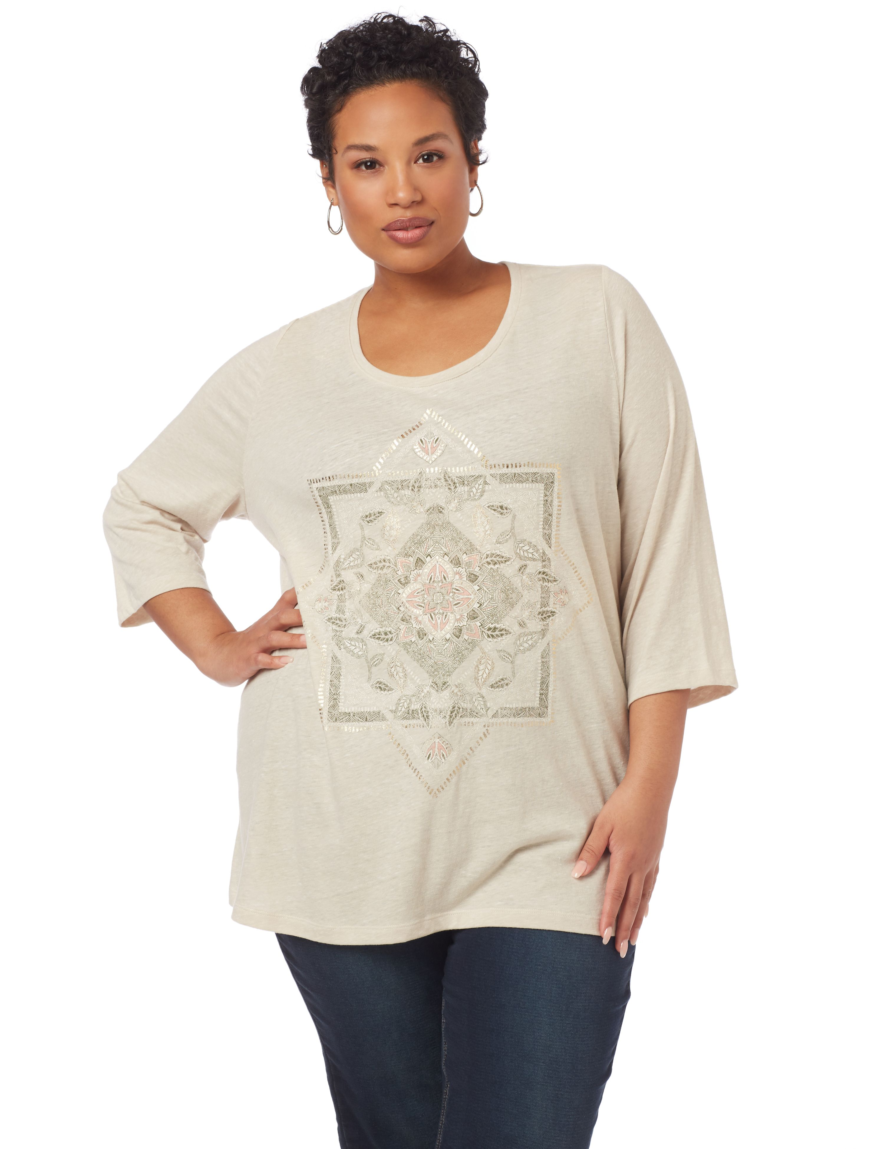 Stay Centered 3/4-Sleeve Top 1091104 SQUARE/TRIANGLE SCREEN MP-300094747