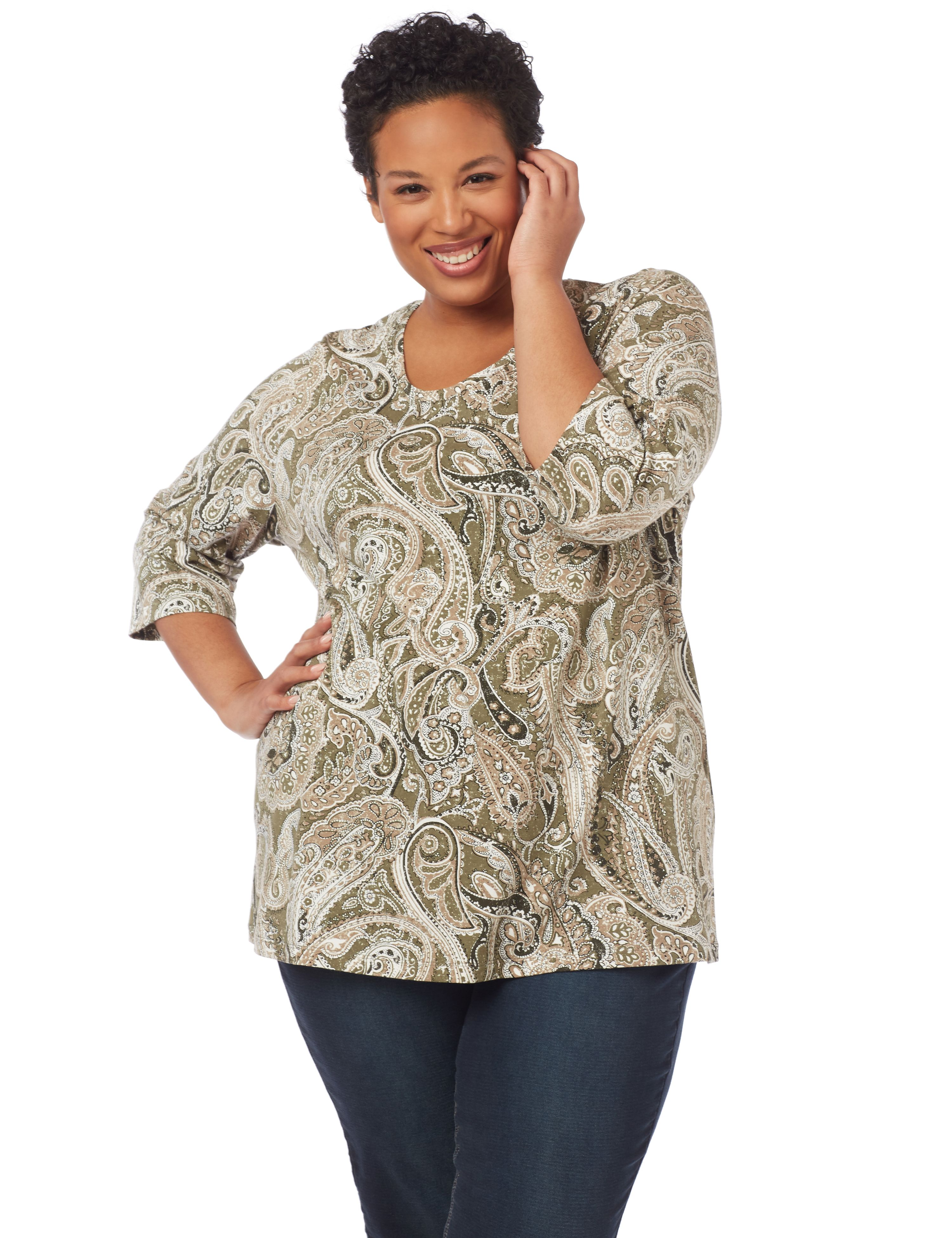 Paisley Dream 3/4-Sleeve Top 1091106 A/O PAISLEY PRINT MP-300094692