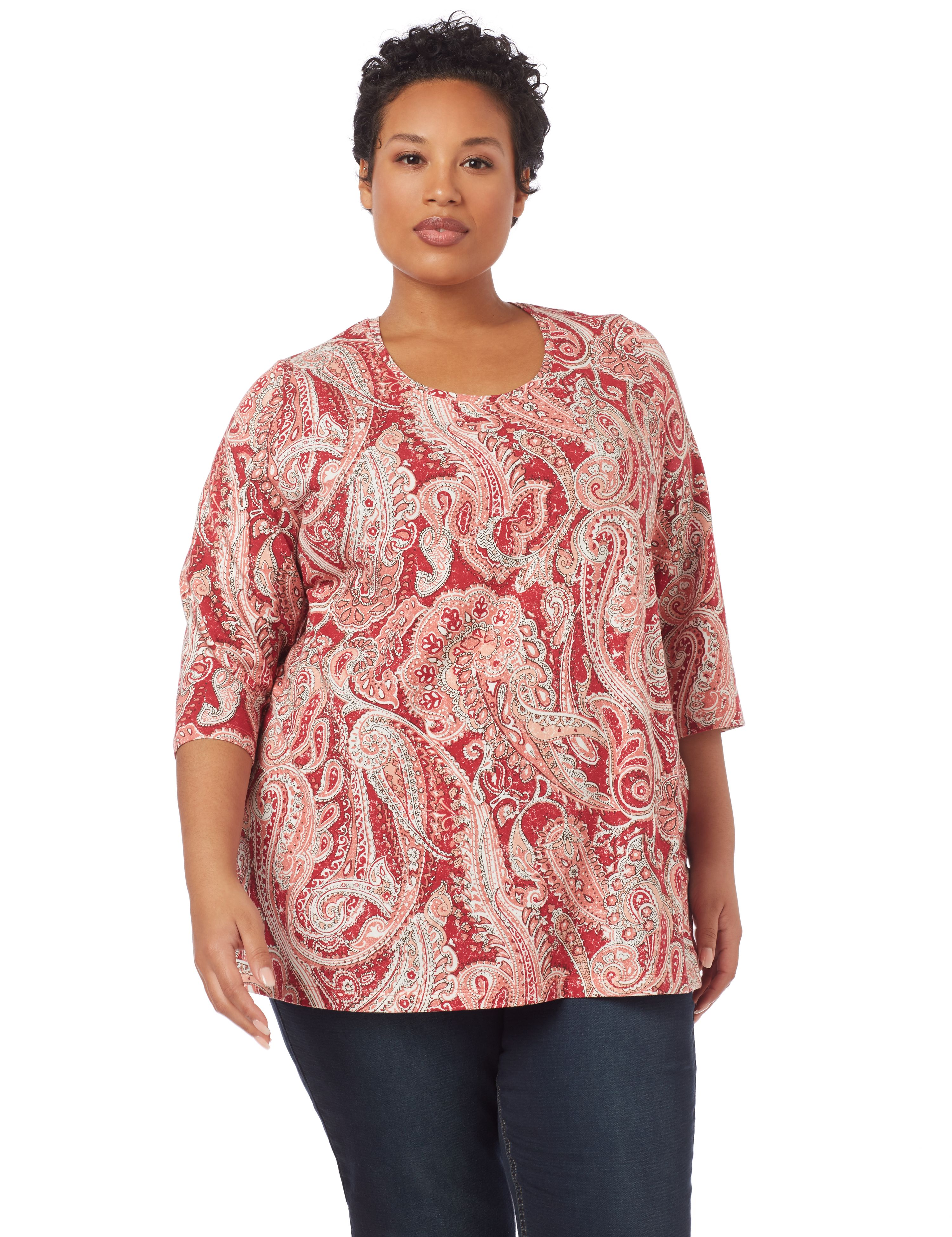 Paisley Dream 3/4-Sleeve Top 1091106 A/O PAISLEY PRINT MP-300094683