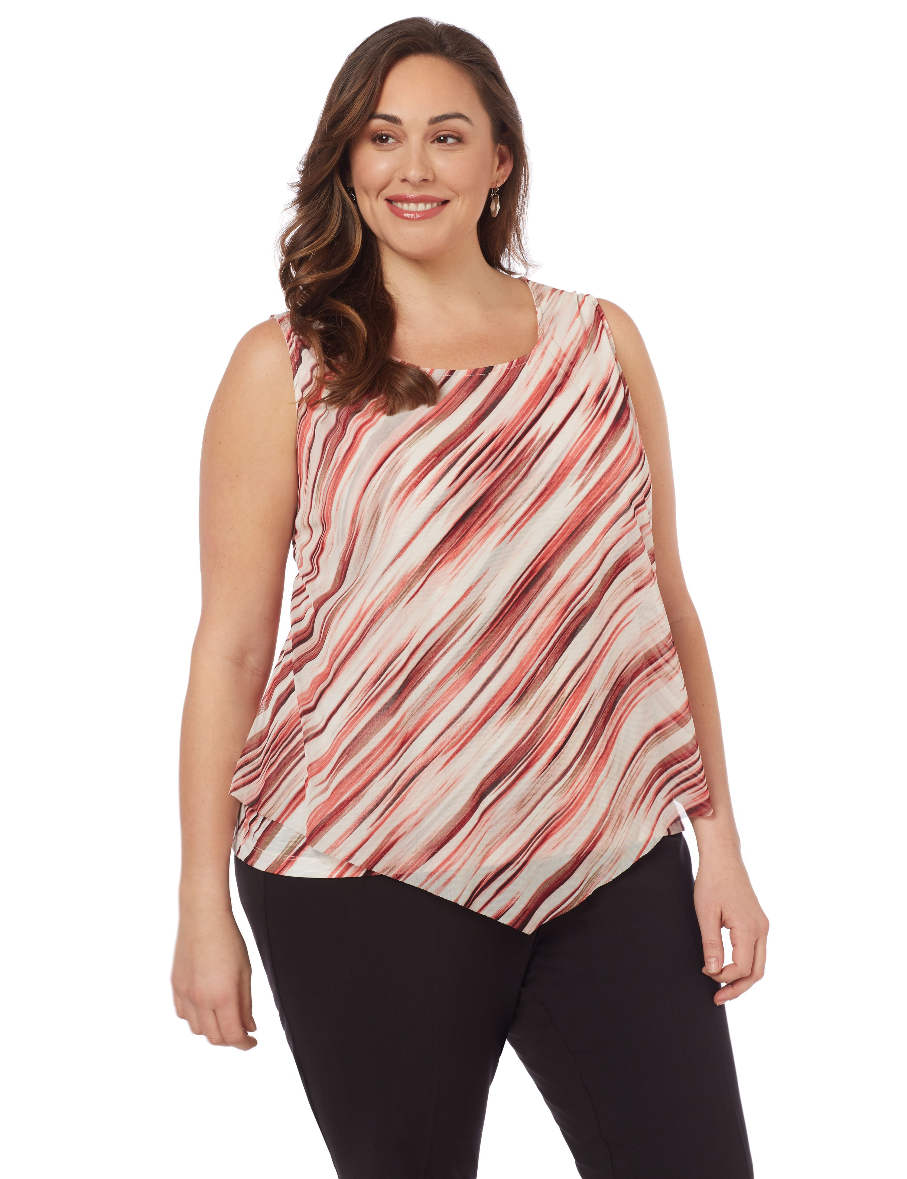 Brushstroke Tank 1087825 MESH LAYER STRIPE TANK MP-300102682