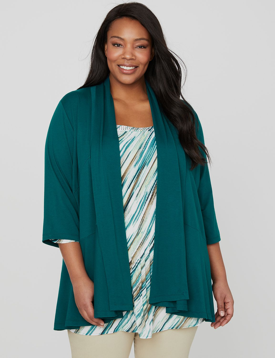 Essential Cascade 1087729 SOLID KNIT SEAMED CARDIGAN MP-300100085